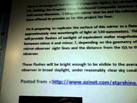 Line 18 a3c NASA Starshine Graphite Fiber Mirror Sky Hook SpaceDEV STARSYS WOW SETI
