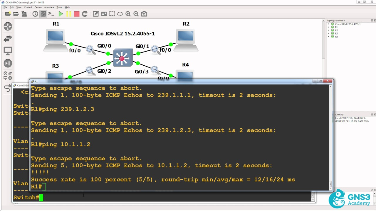 GNS3 CCNA 200-125: Mulitcast and Unknown Unicast Traffic Demo