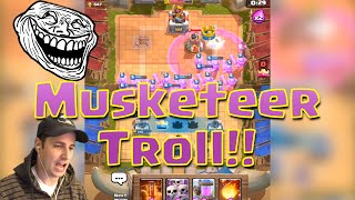 TROLLING NOOBS! in Clash Royale - MUSKETEER TROLL!!! (Funny Moments in Clash Royale)