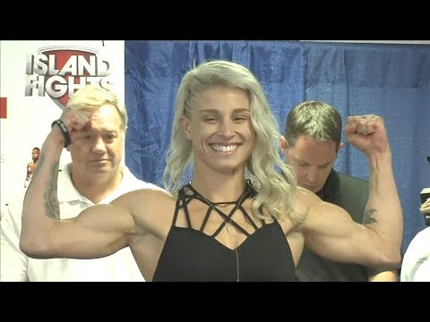 Hannah Goldy vs. Vanessa Marie-Grimes - Weigh-in Face-Off - (Island Fights 46) - /r/WMMA