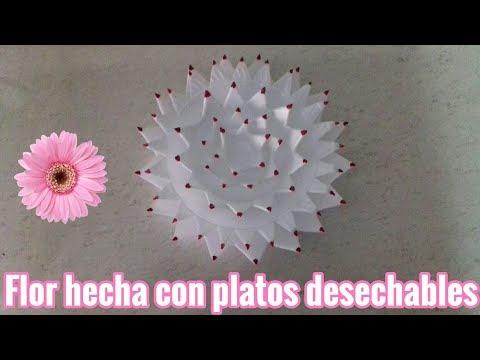 FLOR HECHA CON PLATOS DESECHABLES |Tutoriales Maira