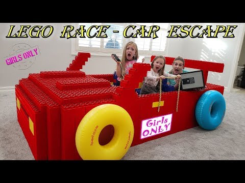 Giant Lego Fort Race Car Escape Room! Girls Only No Boys Allowed!! Abandoned Safe Found Hidden!