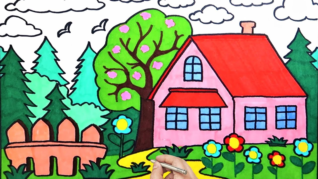 How To Draw House Garden Sky Flowers Easy | Coloring Pages ...