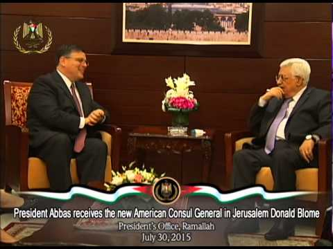 President Abbas receives the new American Consul General in Jerusalem Donald Blome