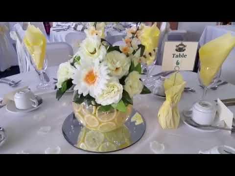 Wedding Decorations Fish Bowls Fresh Lemons Yellow Oranges Flowers