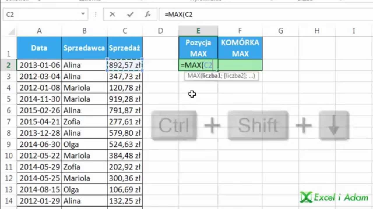 Excel Numer Wiersza Z Maksymalną Wartością Sprzedaży Widzowie 77