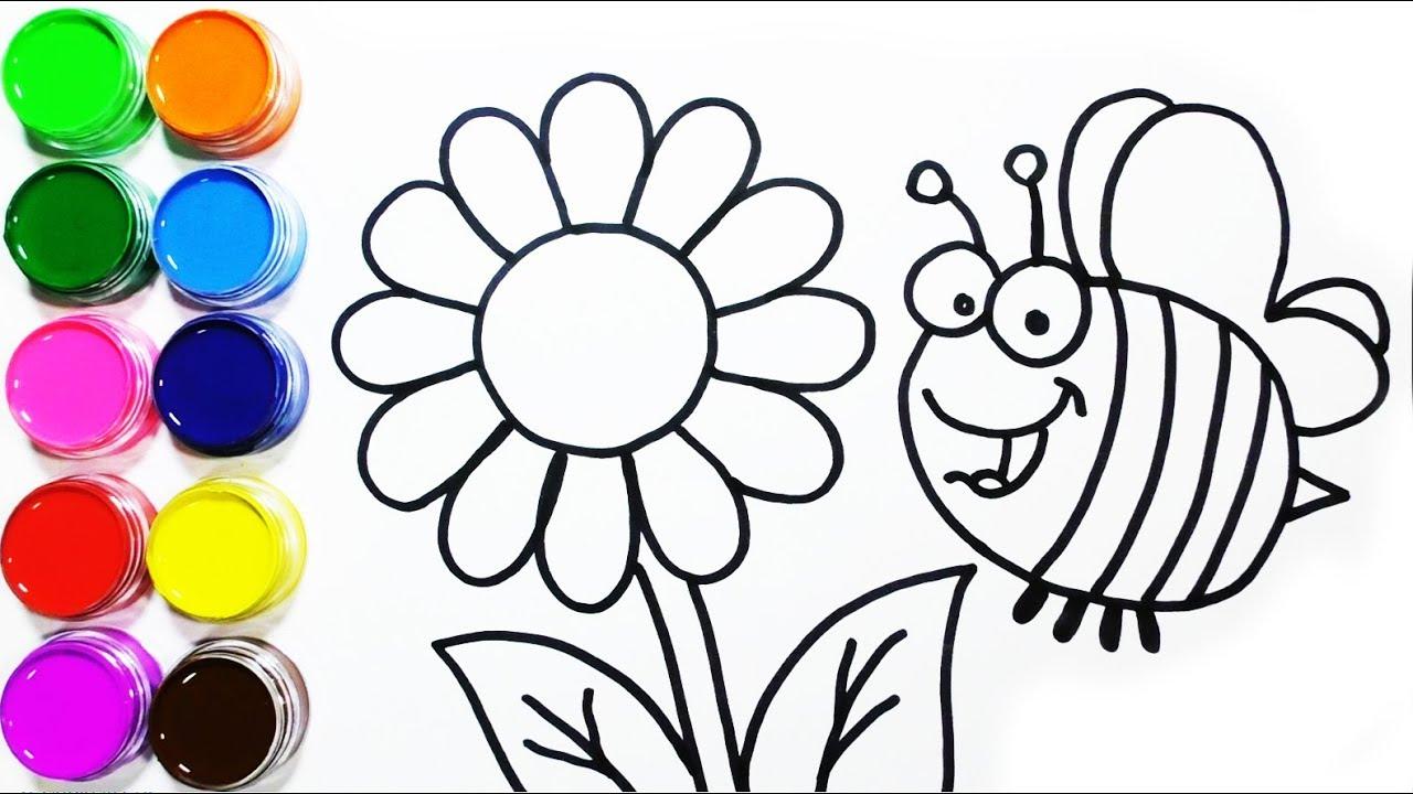 Dibujos De Flores Para Recortar Y Colorear: Dibujos Para Colorear De Abejas Y Flores