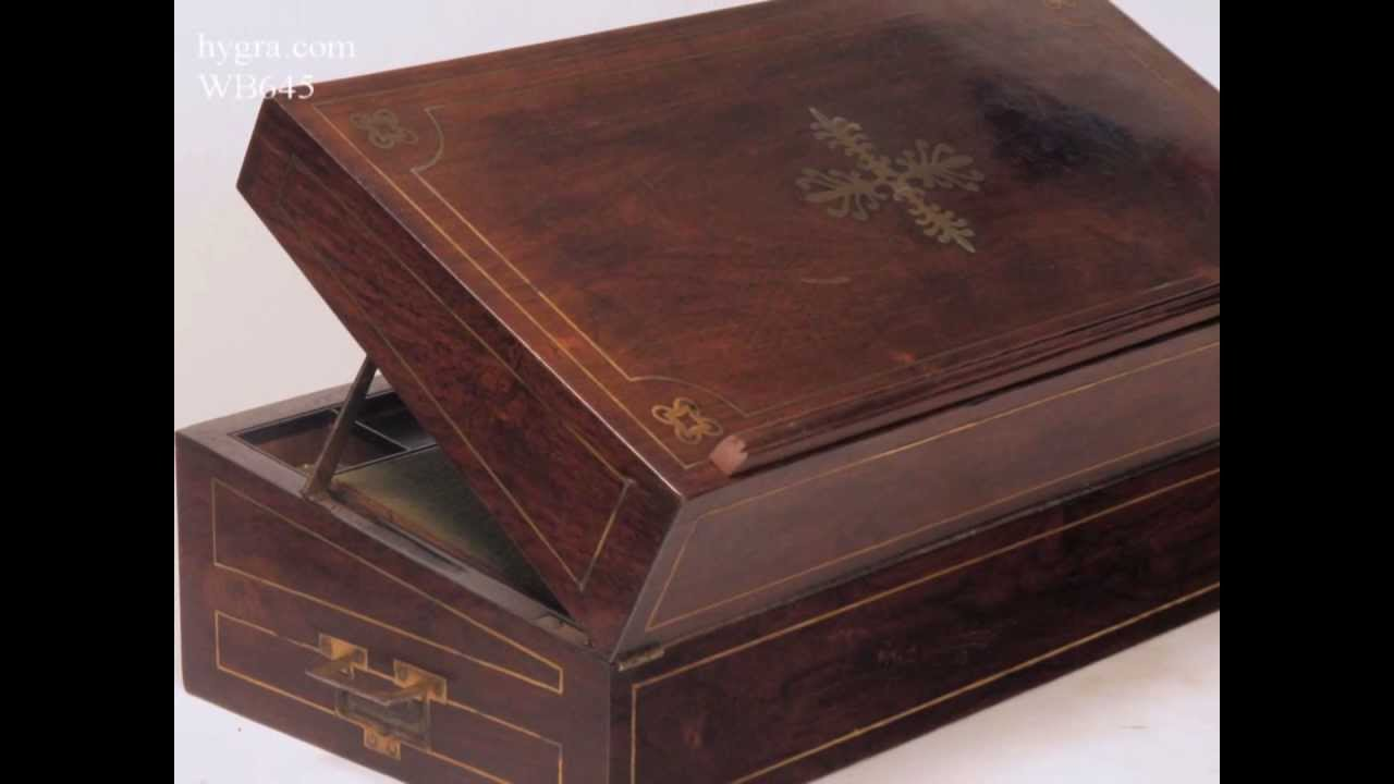 Antique Brass inlaid figured Rosewood Writing box with