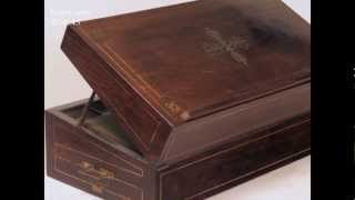 Antique Brass Inlaid Figured Rosewood Writing Box With Secret Compartments Circa 1820.