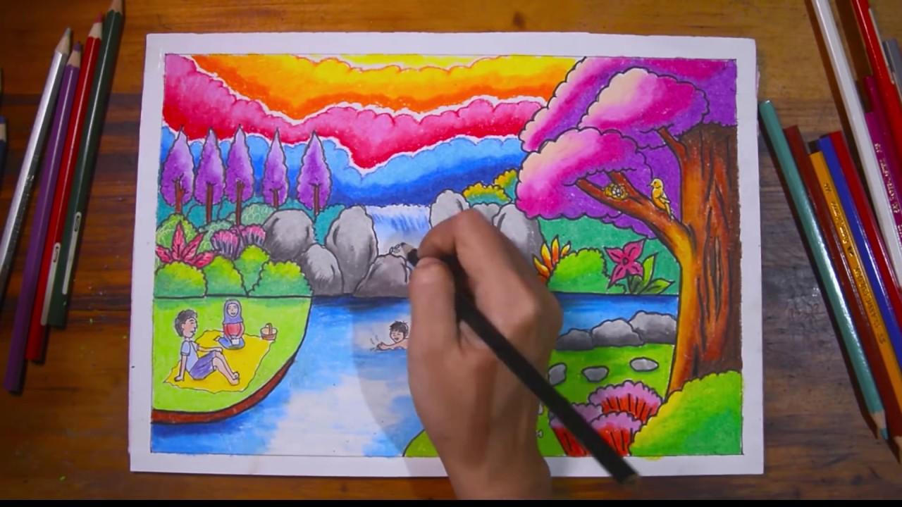 Gradasi warna oil pastel Tema cara menggambar Pemandangan