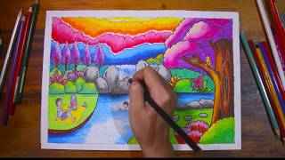 Gradasi warna oil pastel Tema cara menggambar Pemandangan Air terjun ( DRAWING WATERFALL )
