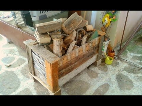 DIY - Ξύλινο κουτί αποθήκευσης ξύλων (Wooden storage box for wood)