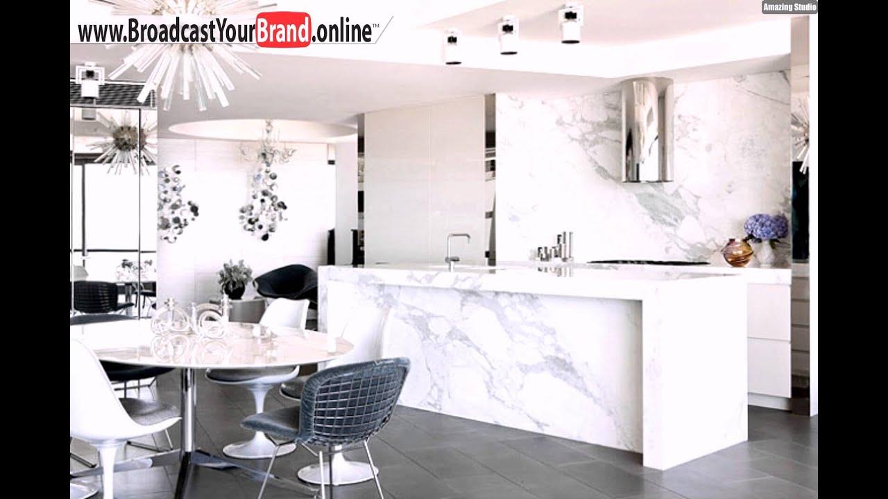 Wohnideen Küche Modern Luxus Weiß Marmor Stahl - YouTube