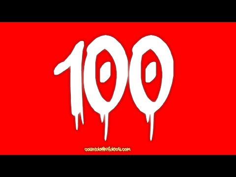 100 Second Countdown Timer White Graffiti Numbers on Red Screen Background