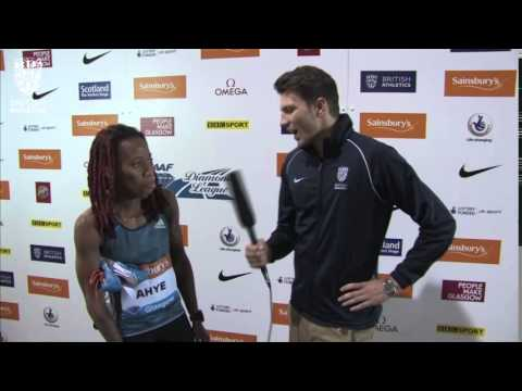 Michelle Ahye takes victory in the 100m at the Sainsbury's #GlasgowGP