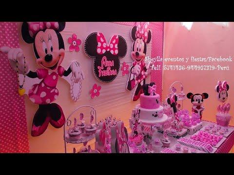 Fiesta Minnie Coqueta Rosada Mouse Decoración Temática De Niña