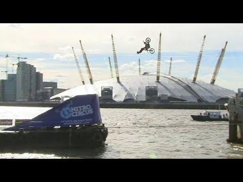 Daredevil does motorbike backflip over River Thames