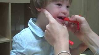 Sam doing Oral Motor Speech Therapy With Jennifer Price Hoskins