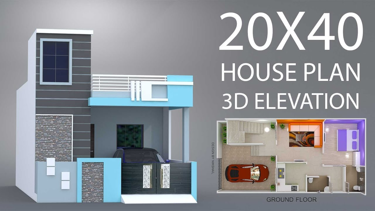 20X40 House plan car parking with 3d elevation by nikshail ...