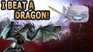 I SLAYED MY FIRST DRAGON! (SKYRIM HIGHLIGHTS)