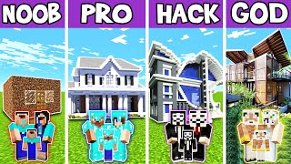 Minecraft: FAMILY FUTURE LEGENDARY HOUSE BUILD CHALLENGE - NOOB vs PRO vs HACKER vs GOD in Minecraft