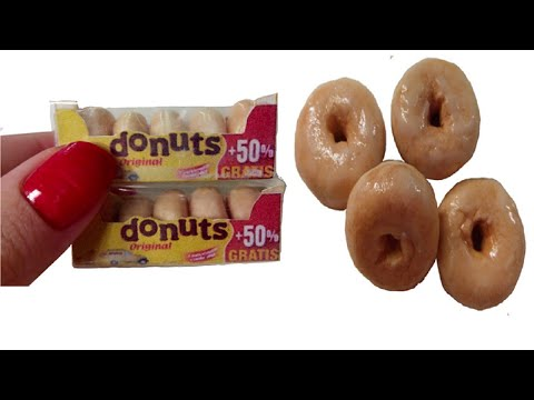 DIY Miniature Donuts with Box for Dollhouse TUTORIAL - Crafts