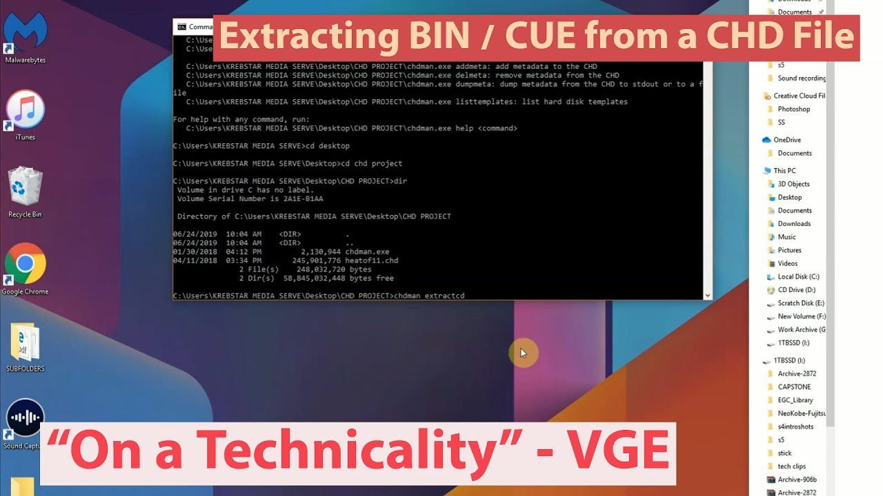 Converting CHD MAME files to bin / cue -