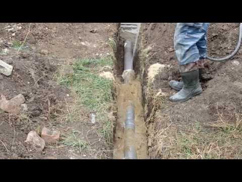 Замена труб уличной  канализации, реконструкция септика