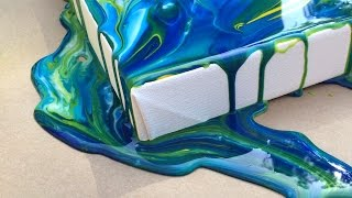 Repeat youtube video Acrylic Pouring Medium Demo on Gallery Depth Stretched Canvas