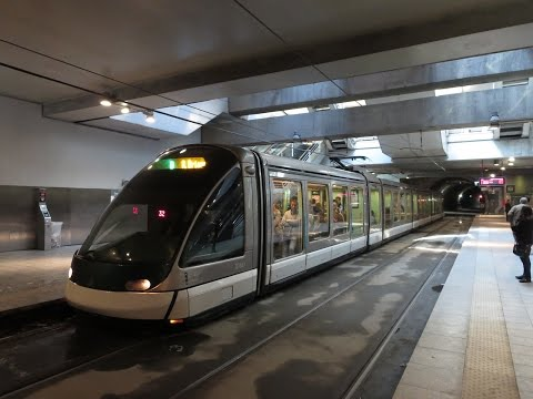 France: Strasbourg Line A & D trams at Gare Centrale station (underground)