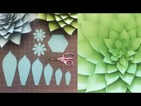 DIY Easy Paper Flower Tutorial | Paper Flower Succulents | Step by Step How To | Giant Paper Flowers