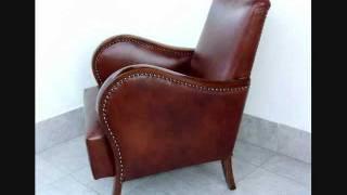 Art Deco Leather Club Chairs, Armchairs.