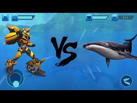 ► Robot X Car Vs Blue Whale Shark Attack city rescue mission Android Gameplay