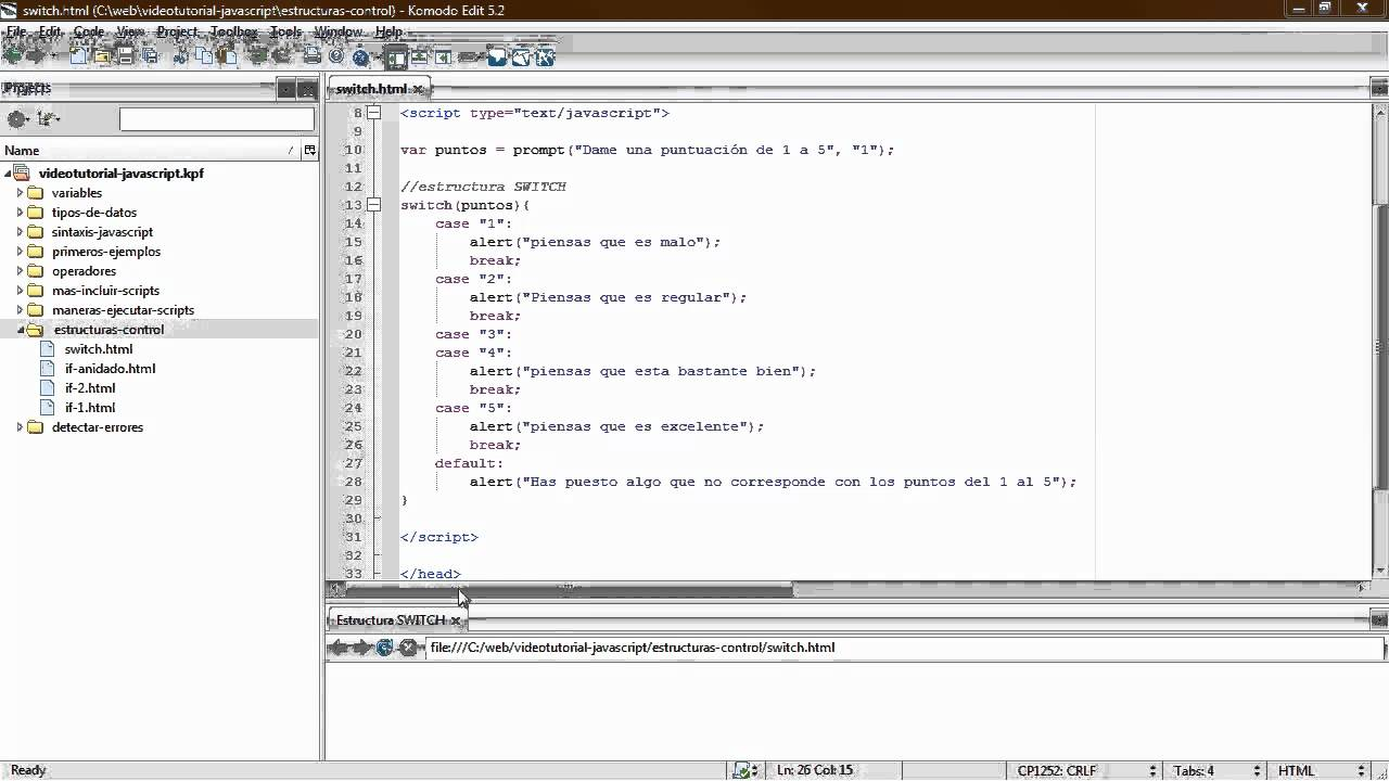 Estructura De Control Switch En Javascript