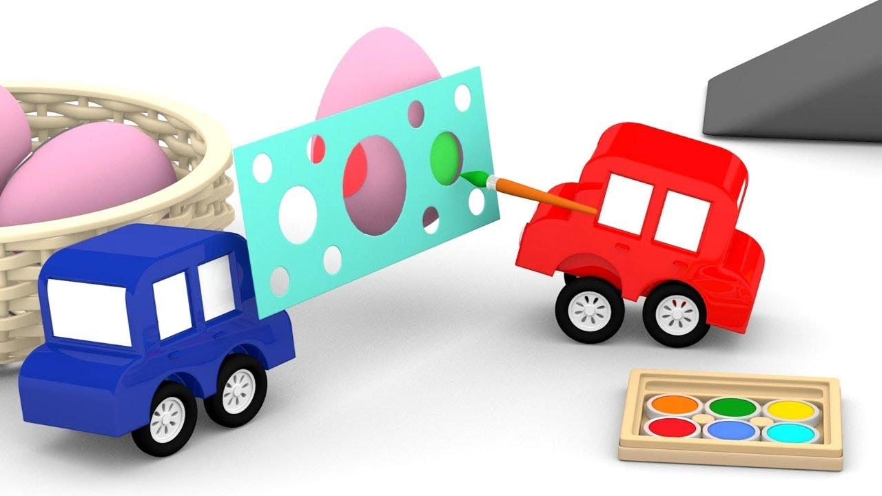 Le macchinine colorate decorano uova cartoni animati