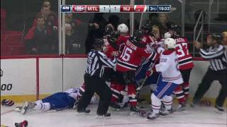 Both teams drop gloves after Stollery lays questionable hit Beaullieu