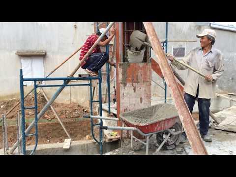 House Construction Building Concrete Columns - Installation Formwork And Pouring Concrete Columns