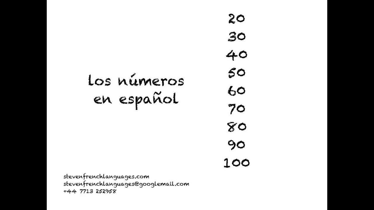 Numbers in Spanish 20 to 100 going up in 10's - YouTube