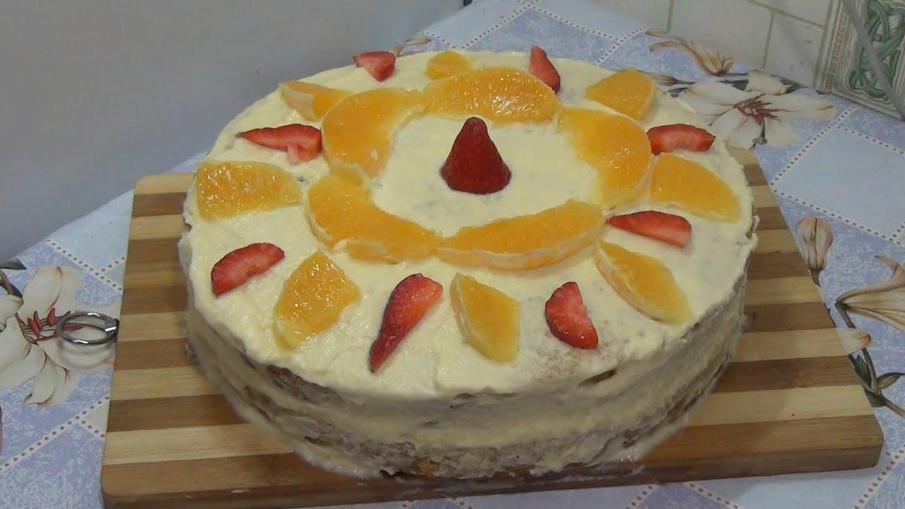 Торт фруктовый бисквитный рецепт в домашних условиях