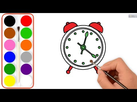 How To Draw Cute Alarm Clock For Kids Clock Drawing And Coloring