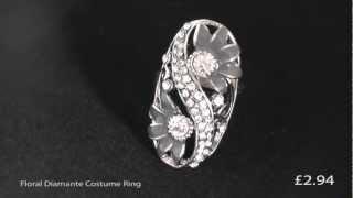 Floral Diamante Costume Ring Thumbnail