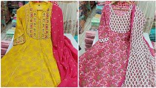Branded !! कॉटन कुर्ती Designer Cotton Kurti Market in Delhi Cotton Dupatta jaipuri Kurti Suit