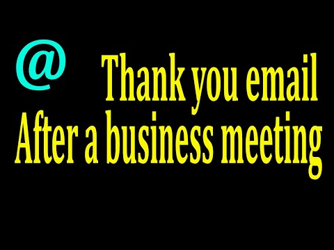Thank You Email After A Business Meeting.