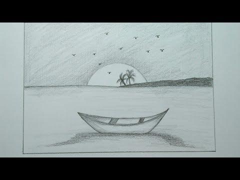 Cara Menggambar Pemandangan Pantai Dan Sunset Cara Arsir Dengan Pensil Youtube