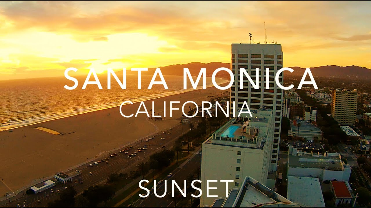 sunset in santa monica california drone flight youtube. Black Bedroom Furniture Sets. Home Design Ideas