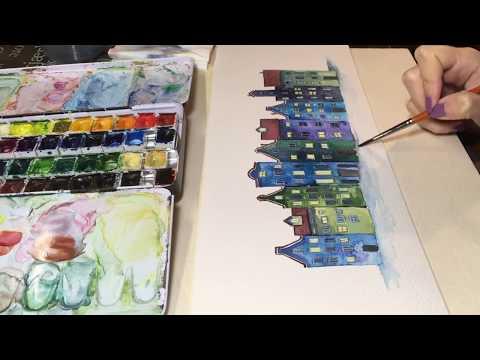 Illustrazione Ad Acquerello , Illustrazione Paesaggio Invernale Con Case