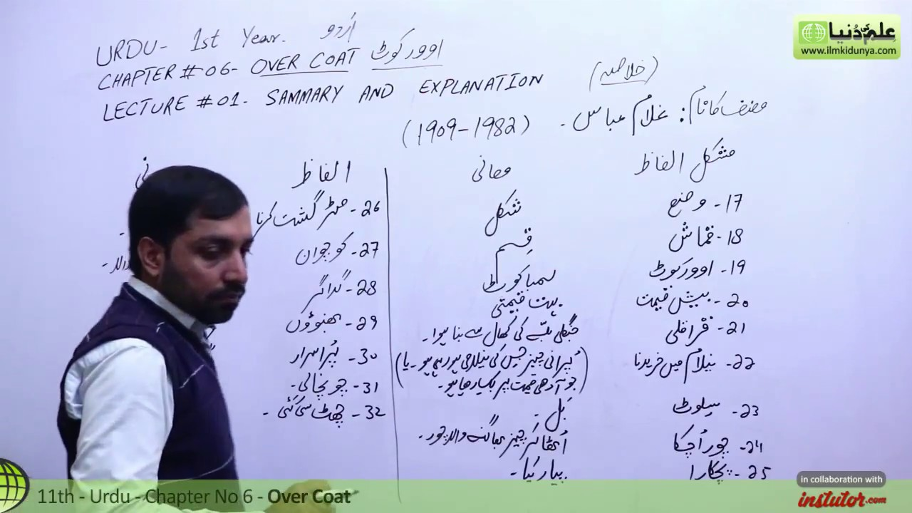 First Year Urdu,Chapter 6,lec 1,Summary & Explanation-Over Coat-11th class  Urdu
