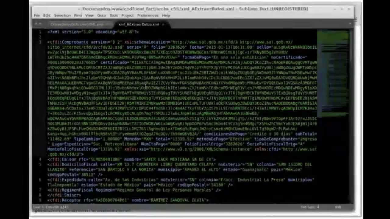 Demo. Script PHP Extrae datos de Factura Electrónica (archivo .XML ...
