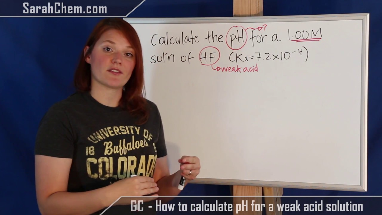 Calculating Ph For A Weak Acid Solution Using Ice Chart Youtube