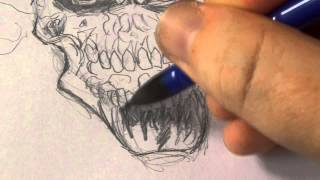 How To Draw A Skull On Fire With Pencil